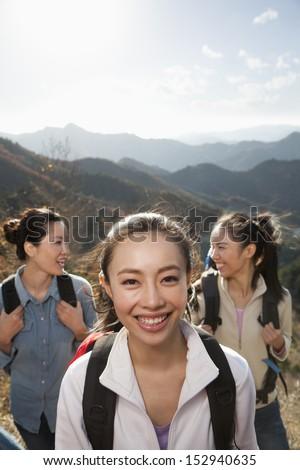 Women hiking, portrait - stock photo