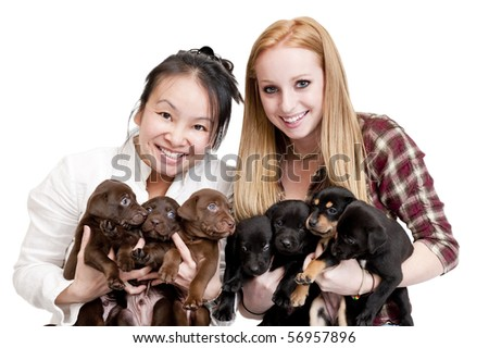 Women holding seven puppies