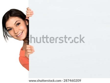 Women, Holding, Sign. - stock photo