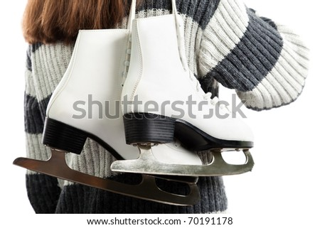 Women holding winter activity rink ice sport skate - stock photo