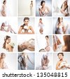 Women in a different bridal lingerie and dresses: collage - stock photo