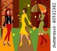 Women in autumn - stock vector