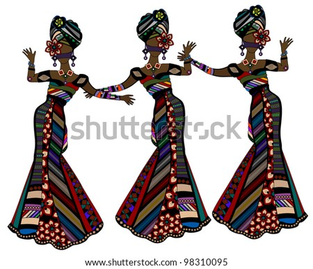 women in beautiful dresses in ethnic style dancing on a white background - stock photo