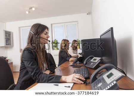 women in call center support - stock photo