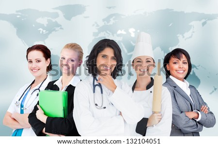 Women in different careers smiling together on world map background - stock photo