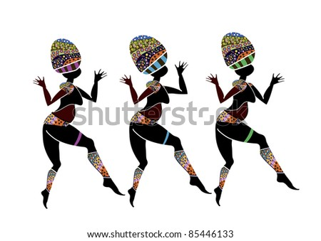 Women in ethnic style dance their dance on a white background - stock photo