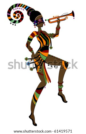 Women in ethnic style dancing their religious dance (raster version) - stock photo