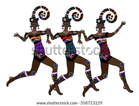 Women in ethnic style fun dancing on a white background - stock photo
