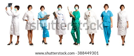 Women in medical overalls isolated on white background - stock photo