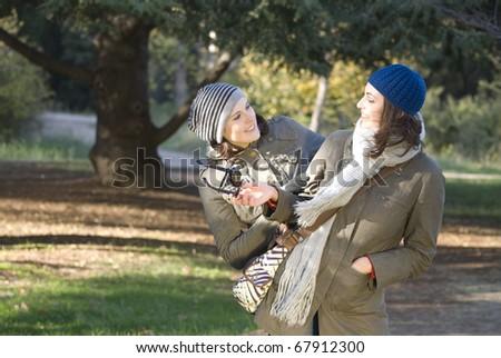 Women in park - stock photo