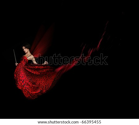 women in  red dress - stock photo