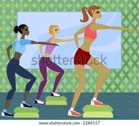 Women in step aerobics class - stock photo