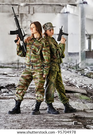 Women in war - production photo - stock photo