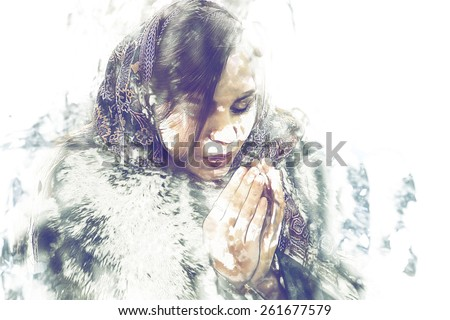 Women in winter wear warming her palms,modern watercolor painting and a lot of space for text. Young women in winter time cold weather watercolour artwork. - stock photo