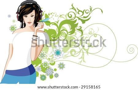 Women is listening to music. Raster version of vector illustration. - stock photo