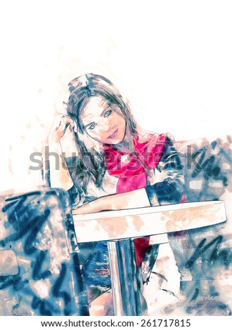 Women is sitting in cafe in loneliness and looking at camera, toned image. Modern watercolor painting. A lot of space for text over model. Cefeteria lifestile - stock photo