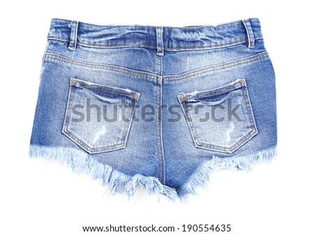 Women jeans shorts isolated on white - stock photo