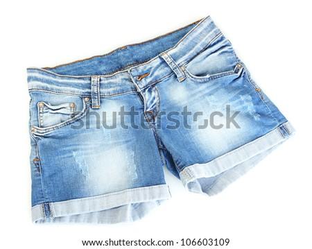 women jeans shorts isolated on white background - stock photo