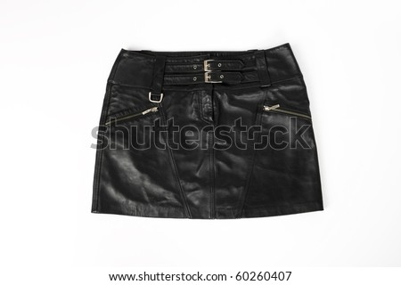 women, leather short skirt on a white background - stock photo