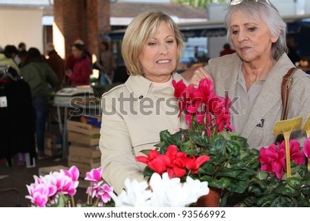 Women looking at plants in a market - stock photo