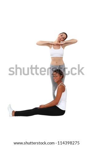 Women making forms with their bodies - stock photo