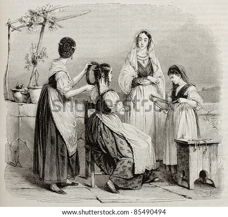 Women of central Italy old illustration. By unidentified author, published on Magasin Pittoresque, Paris, 1842