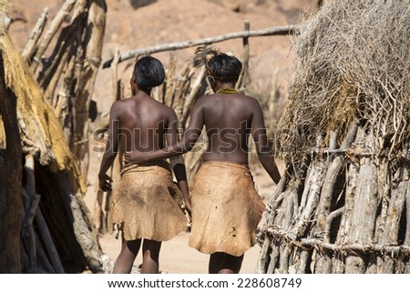 Women of Damara people in cultural village in Damaraland district in Namibia, South Africa - stock photo