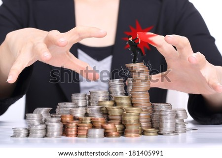 Women office used hands for corruption and steal her company. - stock photo