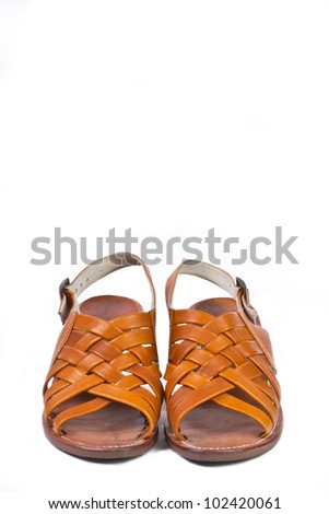 Women orange leather shoes isolated on white background - stock photo