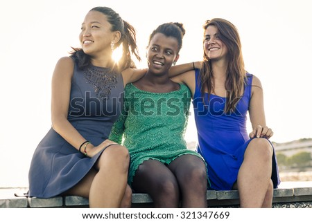 Women Outdoor during a beautiful day of summer. - stock photo