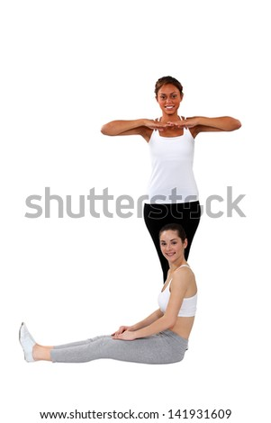 Women practising a dance routine - stock photo