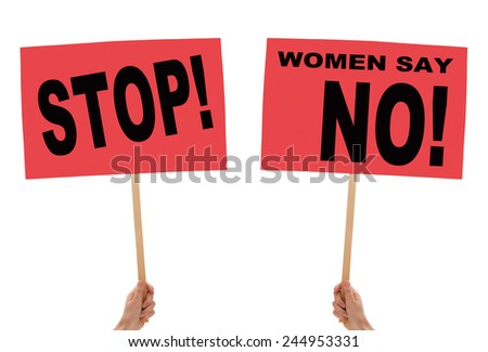 Women protest placards held aloft. Isolated on white. - stock photo
