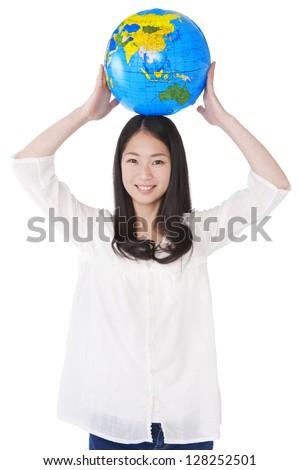 Women put on the head a globe - stock photo