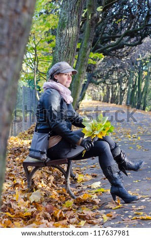 Women relax in autumn season