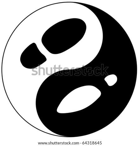 Women's and man's footprint represented as yin yang sign - stock photo