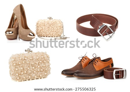 Women's and men's shoes. Accessories to them - stock photo