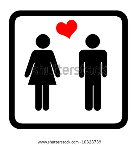 Women's And Men's Toilets Sign With Red Heart - stock photo
