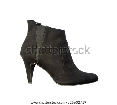 Women's autumn ankle boots black zip average heels, isolated white background - stock photo