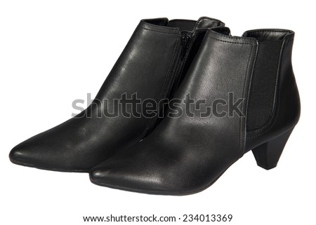 Women's autumn ankle boots black zip average heels, one pair of isolated white background - stock photo