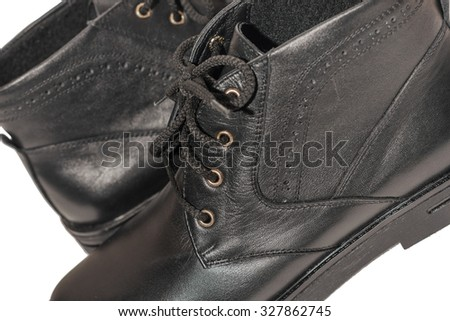 Women's autumn boots black, isolated white background