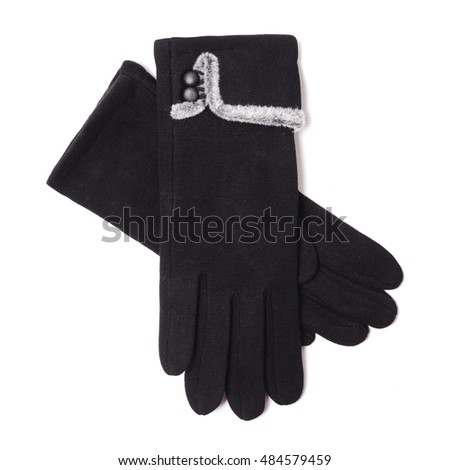 women's black gloves isolated on white