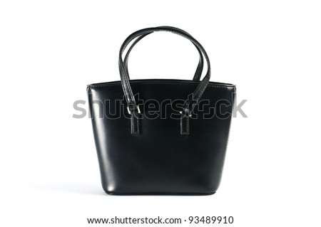 Women's black leather bag on white background.