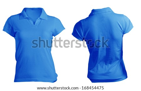Women's Blank Blue Polo Shirt, Front and Back Design Template - stock photo