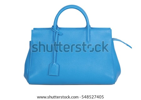 Women's Blue Leather Bag isolated on white background