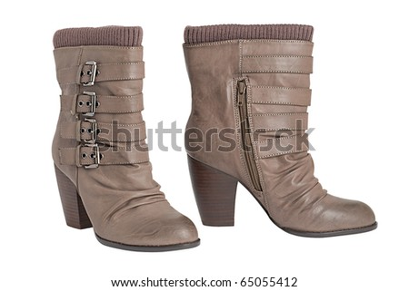 Women's boots brown made of leather