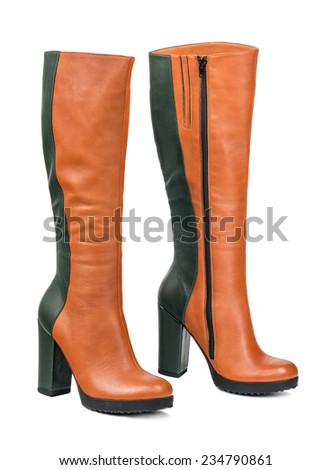 women's boots on white background - stock photo