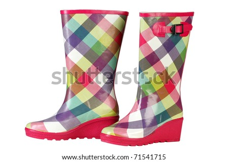 Women's Casual colored in a cage rubber boots with buckle - stock photo
