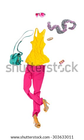 Women's clothing falls in the air on an isolated white background - stock photo