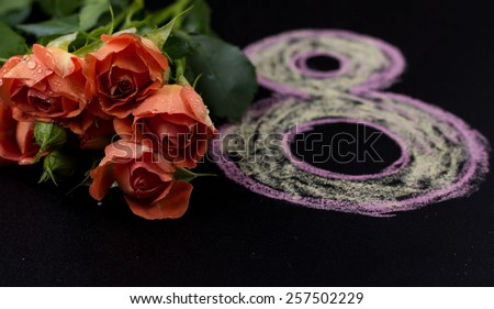 Women's day design, greeting card with March 8 - stock photo