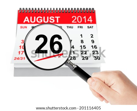 Women's Equality Day Concept. 26 August 2014 calendar with magnifier on a white background - stock photo